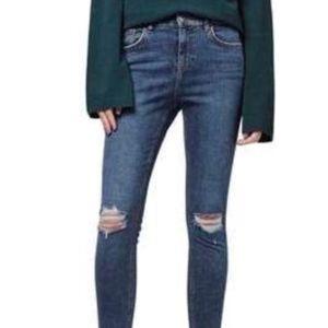 Topshop Jamie High Waist Skinny Ripped Jeans NWOT